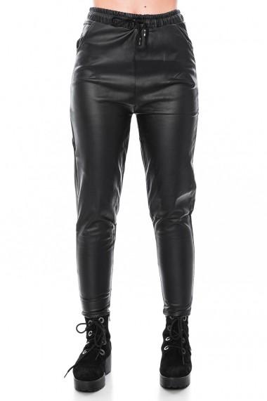 Pantalon cu siret, din piele ecologica, Jolenttine, negru