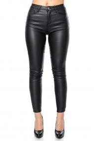 Pantaloni drepti Jolenttine din piele ecologica plusati pe interior