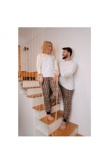 Set pijamale cuplu cu insertie brodata
