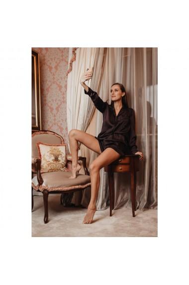 Pijama clasica din matase satinata cu pantalon scurt