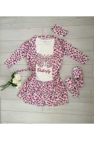 Pijamale Butterfly 5 piese Crem