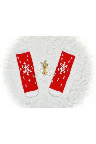 Sosete dama Christmas Mos Craciun Rosu
