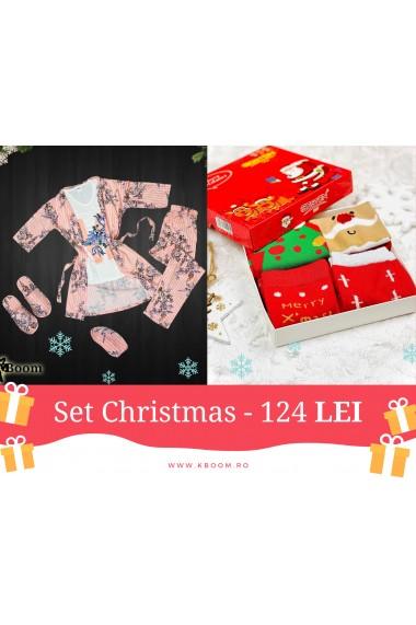 Set Five Christmas Rosu