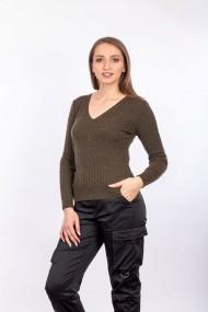 Pulover V-Neck Carmen Grigoriu cu Torsade Olive
