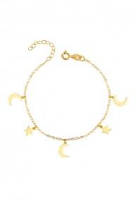Bratara stele si semiluni din argint 925, Ludique Jewelry, auriu