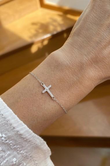 Bratara cruce cu zirconia, Ludique Jewelry, argintiu