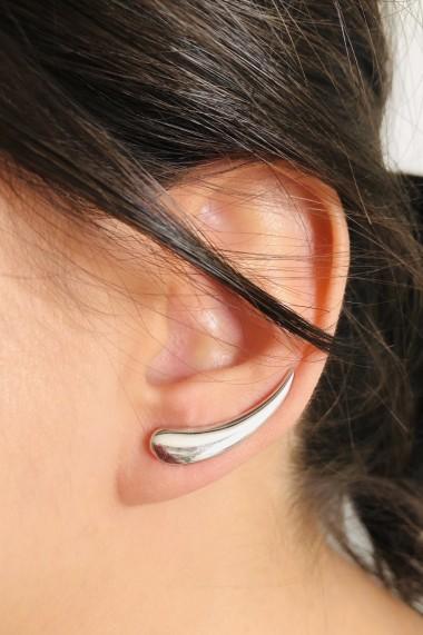 Cercei ear cuff din argint 925, Ludique Jewelry, argintiu
