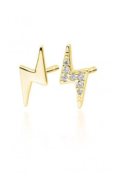 Cercei fulger din argint 925, Ludique Jewelry, auriu