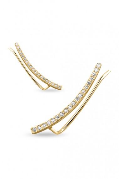 Cercei ear cuff zirconia din argint 925, Ludique Jewelry, auriu