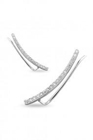 Cercei ear cuff zirconia din argint 925, Ludique Jewelry, argintiu