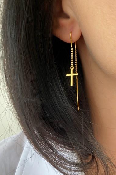 Cercei lungi cu cruce, Ludique Jewelry, auriu