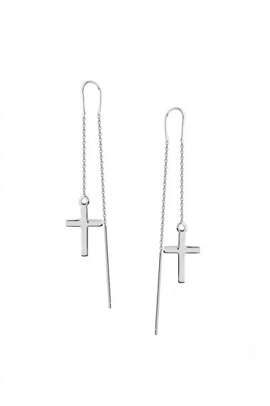 Cercei lungi cu cruce, Ludique Jewelry, argintiu