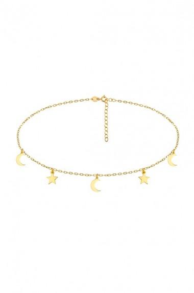 Colier choker din argint 925 cu stelute si semiluni, Ludique Jewelry, auriu