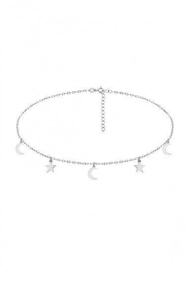 Colier choker din argint 925 cu stelute si semiluni, Ludique Jewelry, argintiu