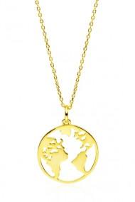 Colier pandantiv glob pamantesc, Ludique Jewelry, auriu