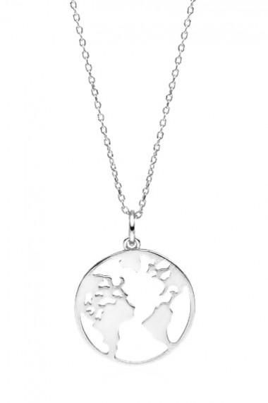 Colier pandantiv glob pamantesc, Ludique Jewelry, argintiu