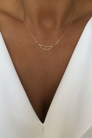 Colier pandantiv aripi din argint 925, Ludique Jewelry, auriu