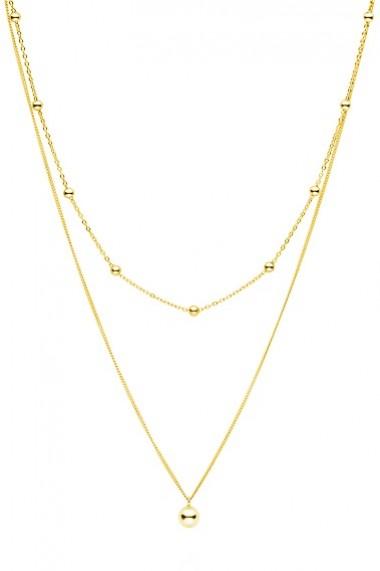 Colier dublu cu bilute din argint 925, Ludique Jewelry, auriu