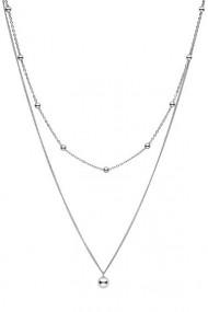 Colier dublu cu bilute din argint 925, Ludique Jewelry, argintiu