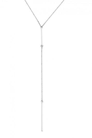 Colier lariat 2 bare din argint 925, Ludique Jewelry, argintiu
