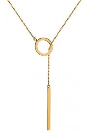 Colier cerc si bara din argint 925, Ludique Jewelry, auriu