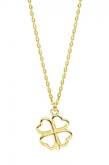 Colier pandantiv trifoi din argint 925, Ludique Jewelry, auriu