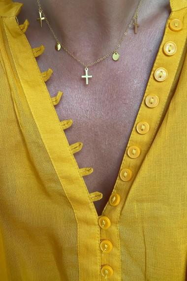 Colier choker cu banuti si cruci din argint 925, Ludique Jewelry, auriu