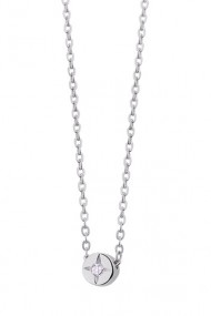 Colier pandantiv zirconia, Ludique Jewelry, argintiu