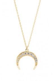 Colier semiluna cu zirconia, Ludique Jewelry, auriu
