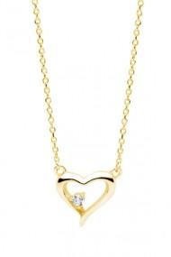 Colier inima cu zirconia, Ludique Jewelry, auriu