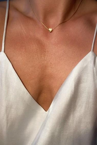 Colier choker cu inimioara, Ludique Jewelry, auriu