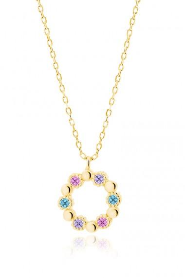 Colier zirconii colorate, Ludique Jewelry, auriu