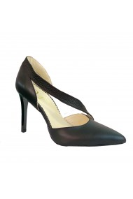 Pantofi dama piele naturala Luisa Fiore Neri negru bizonat