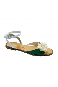 Sandale plate plate Luisa Fiore CARINA alb/verde