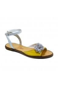 Sandale plate Luisa Fiore CARINA alb/galben