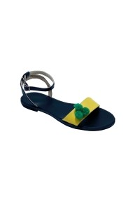 Sandale plate Luisa Fiore CLARA negru/galben
