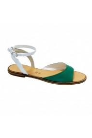 Sandale plate Luisa Fiore DANNY alb verde