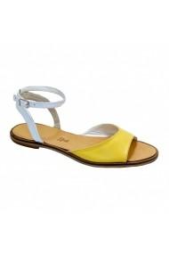 Sandale plate Luisa Fiore DANYY alb galben