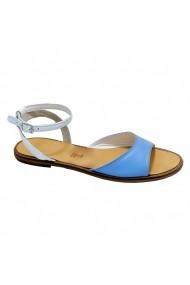 Sandale plate Luisa Fiore DANNY alb acvamarin