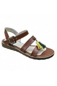 Sandale plate Luisa Fiore DORA coniac