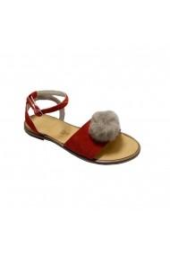 Sandale plate Luisa Fiore VICE rosu