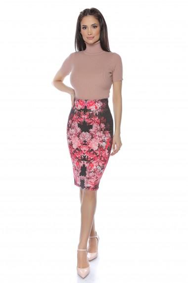 Fusta dreapta Lille Couture neagra cu print floral
