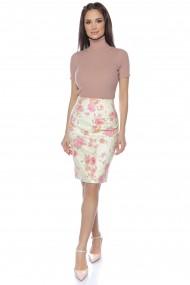 Fusta dreapta Lille Couture crem cu print floral