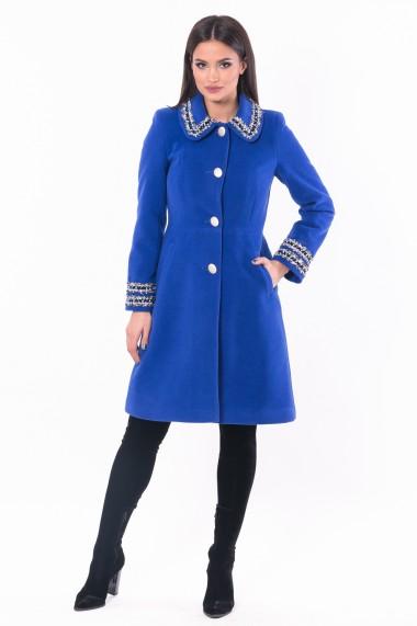 Palton cu aplicatii Lille Couture Cosmina Albastru