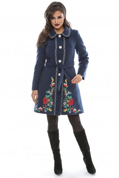 Palton cu broderie Lille Couture Cosmina bleumarin deschis