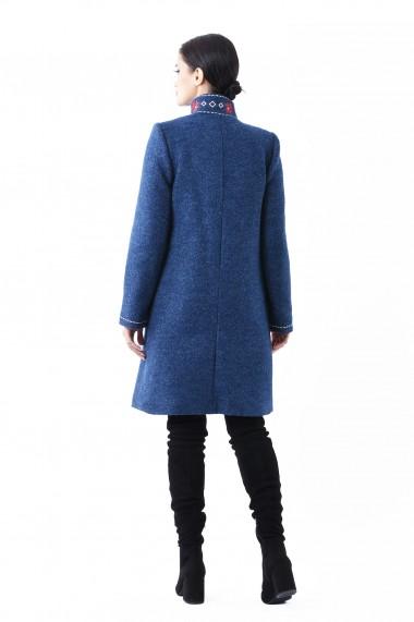 Palton din stofa bucle Lille Couture Maria Bleumarin