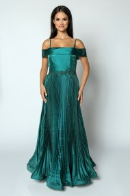 Rochie de seara lunga din organza Lille Couture Sorina verde