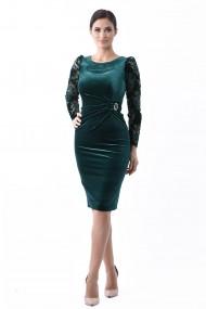 Rochie catifea Lille Couture Eliza Verde