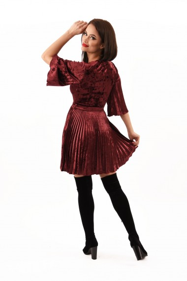 Rochie catifea Lille Couture Paty Visiniu
