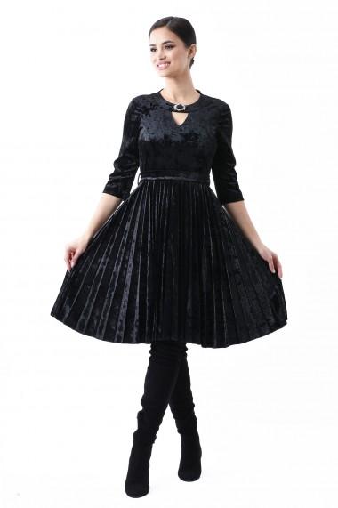 Rochie catifea Lille Couture Clau Negru